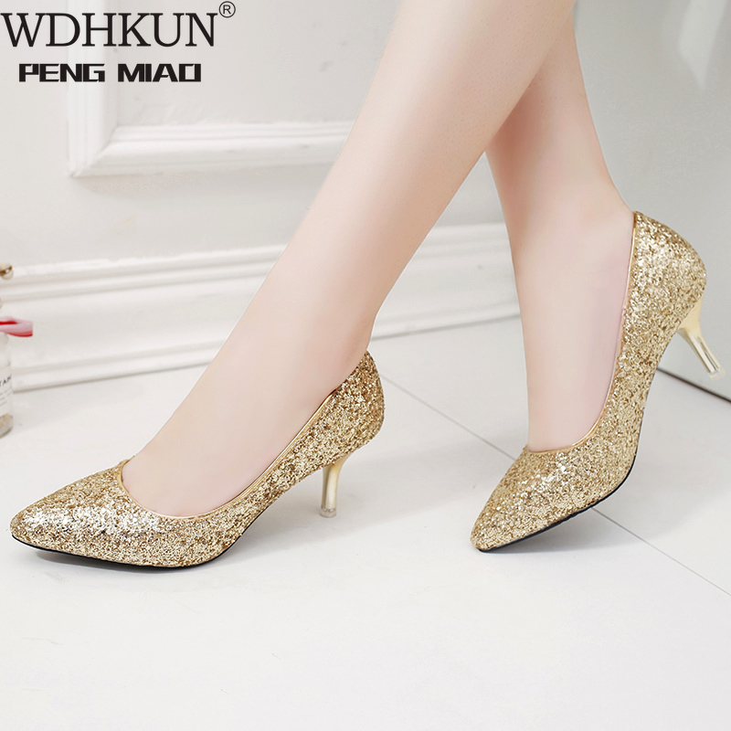 WDHKUN Elegant Ladies Shinning Glitter Gold Silver Pumps 2019 Sexy Pointed Toe High Heels Ankle Strap Wedding Party Shoes Woman