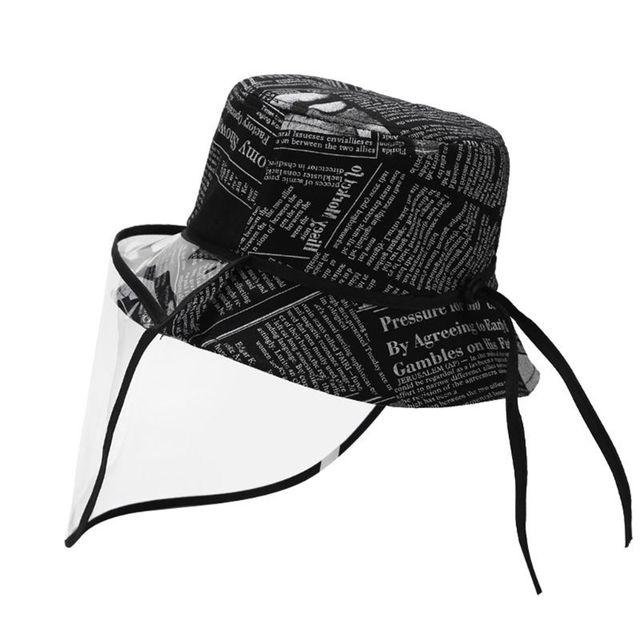 New Unisex Retro Newpaper Letters Bucket Hat Full Face Protection Shield Detachable Sun Protection Anti Saliva Fisherman Cap 2