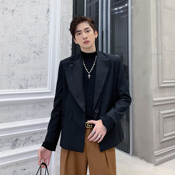 Men Outerwear Asymmetry Collar Loose Casual Single Button Suit Jacket Male Japan Streetwear Vintage Fashion Short Blazer Coat