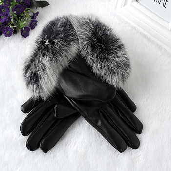 Women PU Leather/Suede Velvet Winter Driving Warm Gloves Full Finger Outdoor Touch Screen Gloves Mittens Thicken Windproof women winter touch screen gloves frill trim plus velvet faux leather mittens b95f