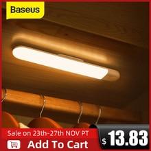 Baseus ledワードローブライトpirモーションセンサーライトusb充電式ナイトライトledナイトランプマグネットウォールライトウォームホワイトライト