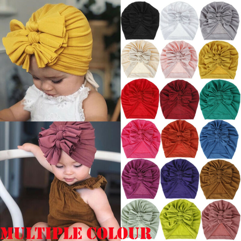 New Bowknot Cotton Head Wraps Indian Turban Floral Caps Beanies Cute Baby Hat