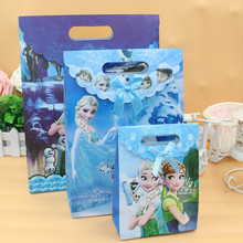 Toy Gift-Bag Candy-Box Frozen-Paper Disney Packaging Small Party-Decoration-Supplies