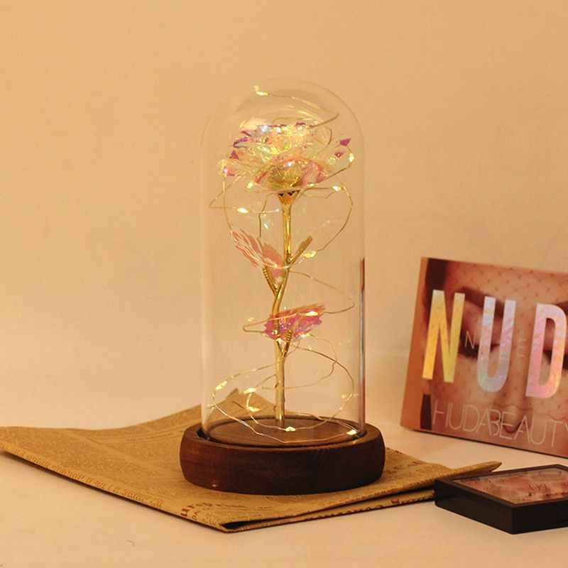 Artificial Gold Foil Rose Flower USB Powered LED Light String In Glass Dome On Wooden Base The Best Gift For Women