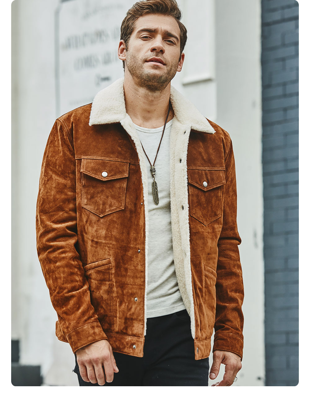 Hc5d7017ceb55412aa06fc0d701225c675 FLAVOR New Men's Real Leather Jacket Genuine Leather With Faux Shearling Warm Coat Men