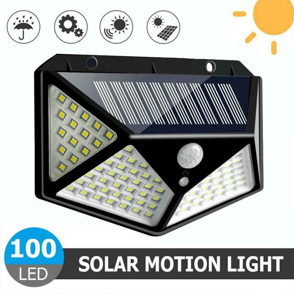 100 led solar luz ao ar livre lâmpada de parede solar lâmpada led ip65 pir sensor de movimento lampara iluminação solar jardim decoração luzes 20w