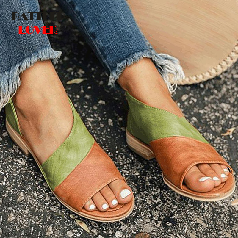 Women Genuine Leather Sandals For Summer Casual Shoes Woman Peep Toe Low Heels Sandalias Mujer Femme 2019 Size 34-43 Summer Shoe