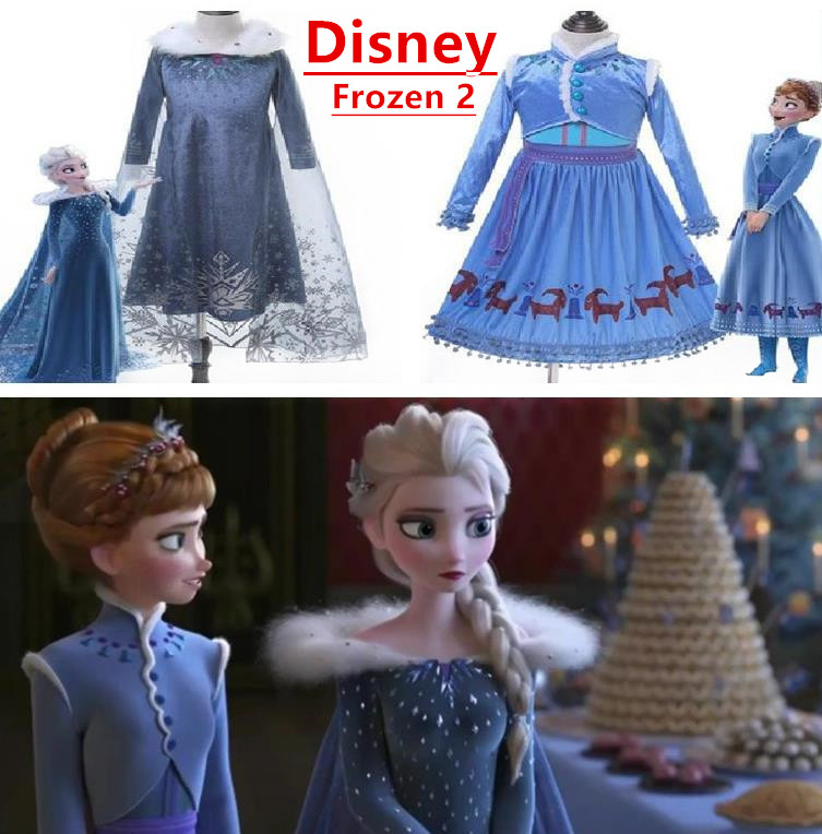 Hot Frozen 2 Meisjes Elsa Dress Party Vestidos 2 Cosplay Kleding Anna Snow Queen Print Verjaardag Prinses Jurk Elza Kids Kostuum