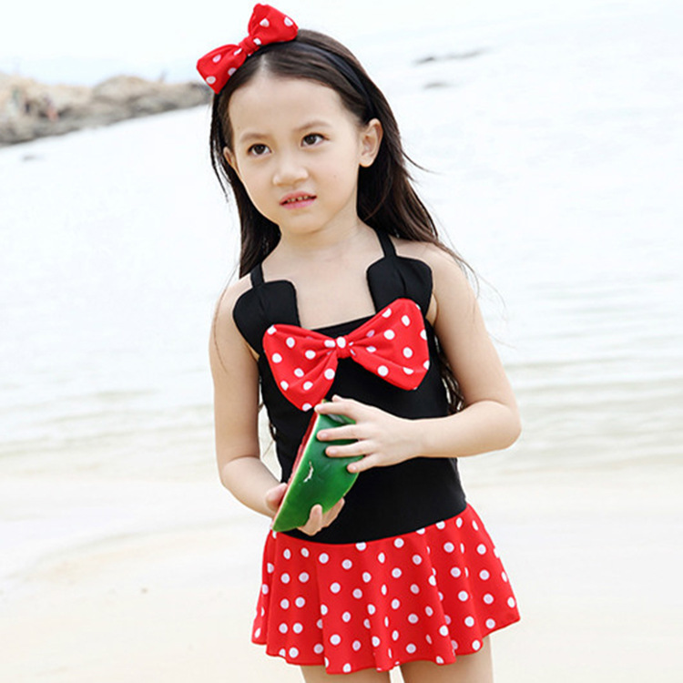 South Korea New Style One-piece Swimsuit For Children GIRL'S Small CHILDREN'S Cute Cartoon Bow Red Polka Dot Dress Baby Swimwear