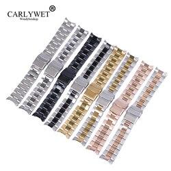 CARLYWET 22 мм Высококачественные наручные часы из нержавеющей стали, сменный металлический ремешок для часов, браслет с двойной застежкой для ...