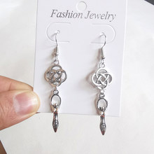 Vintage Silver Spiral Venus Of Willendorf Fertility Goddess knot Drop Dangle Earrings Women Gift Earring Fashion Jewelry Goth(China)