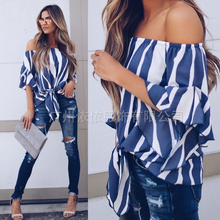 Spring and summer new style European American loose chiffon shirt slash neck striped top