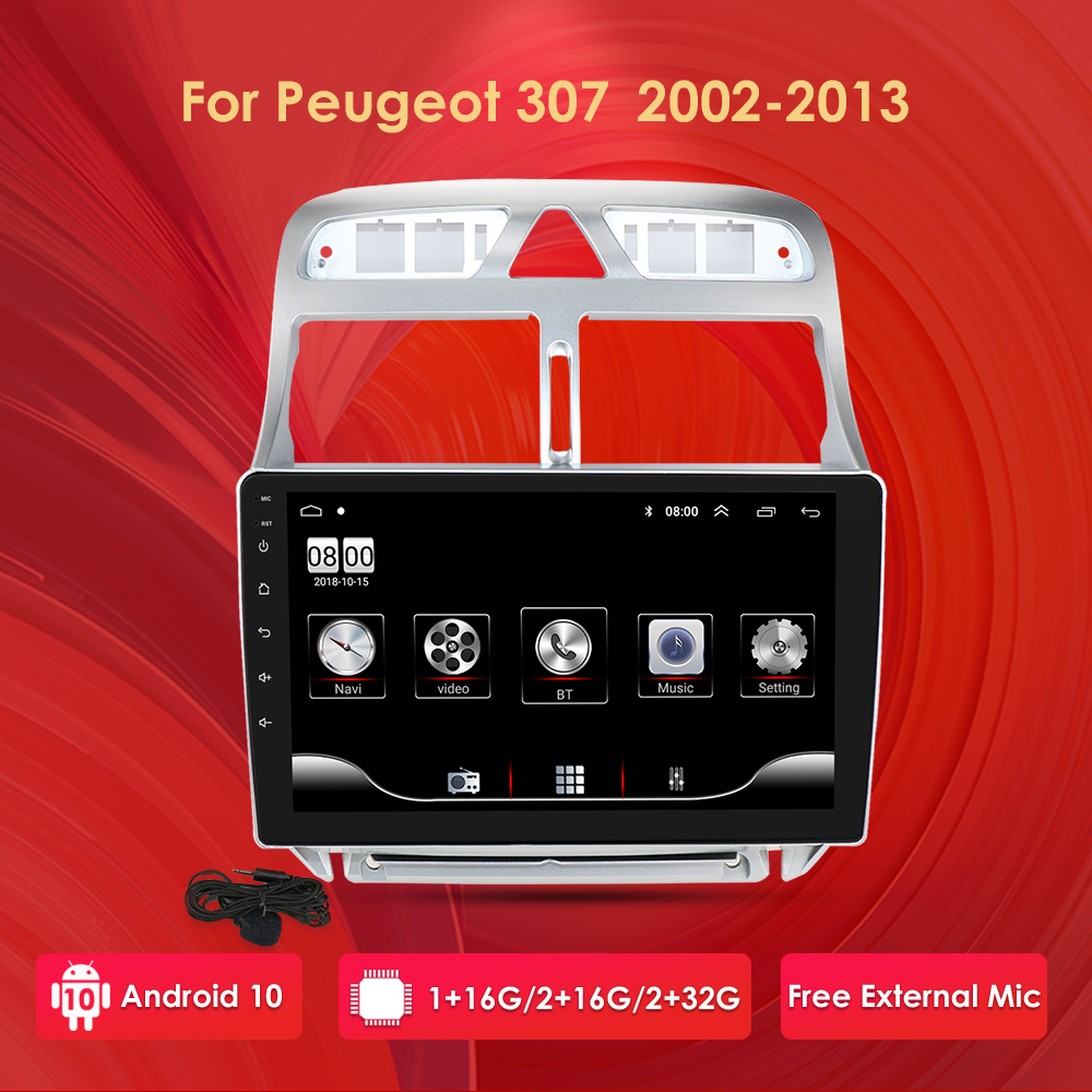 Android 10 <font><b>Car</b></font> <font><b>Radio</b></font> GPS for <font><b>Peugeot</b></font> <font><b>307</b></font> 307CC 307SW 2002 -2012 2013 CarRadio Multimedia Video Player RDS 2 Din 2G RAM <font><b>USB</b></font> Port image