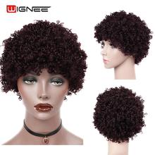 Wignee Short Afro Human Hair Wigs For Women 99J/Brown/Natural Black Color Mongolian Remy Hair Curly Human Wigs With Free Bangs 1pc new 22cm women fashion natural brown 100% human hair straight short wigs au23