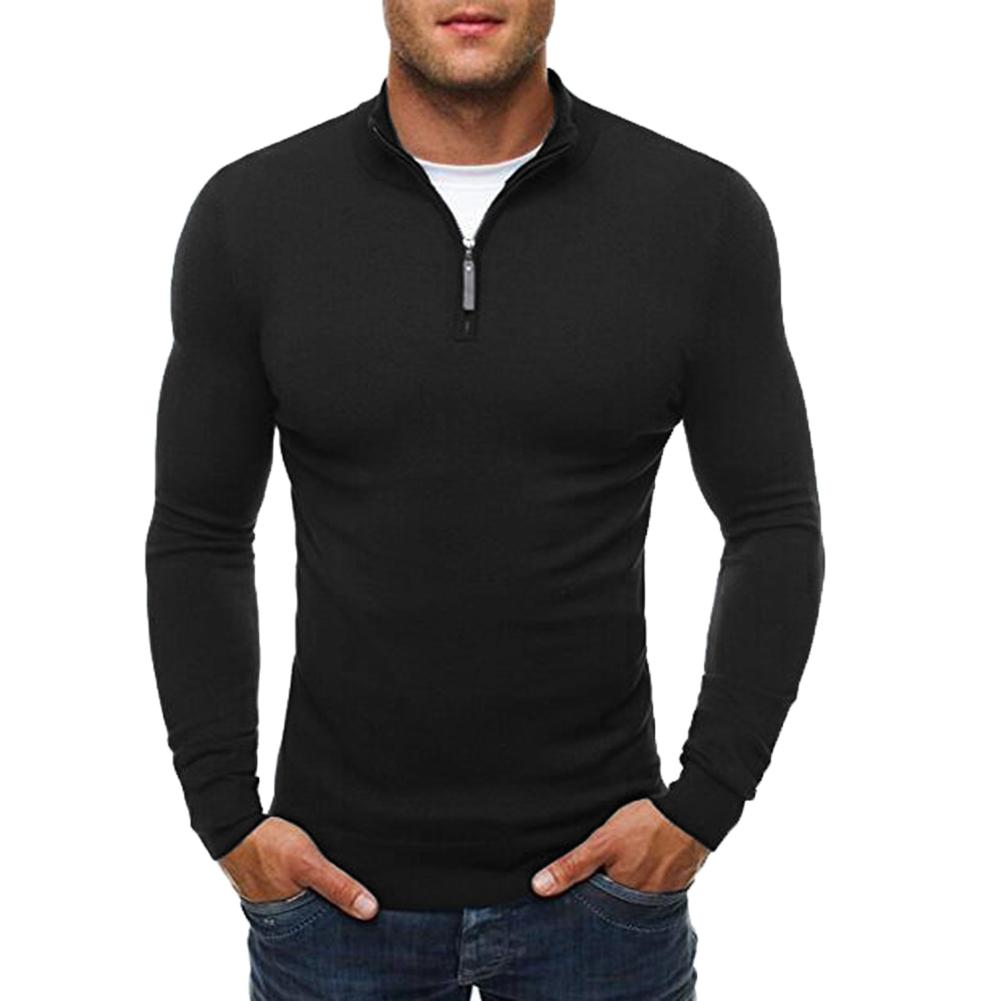 Casual Sweater Men Solid Color Stand Collar Long Sleeve Men Sweater Zipper Knit Sueter Hombre Black Grey Navy Blue Erkek Kazak