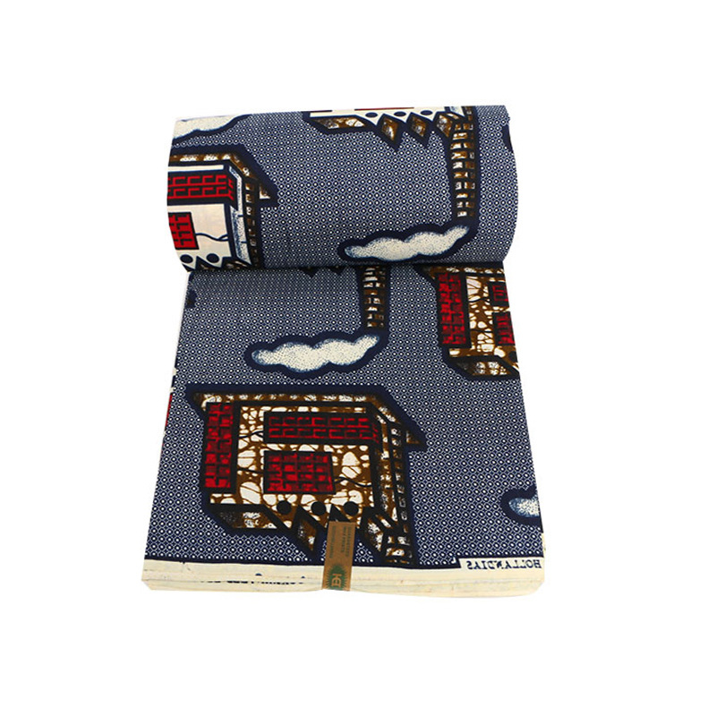 2020 Wax Fabric Houses Print Gray Fabric African Ankara Real Dutch Wax 6 Yards\set
