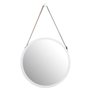 Wiszące okrągłe lustro ścienne w łazience i sypialni-solidne bambusowe oprawki i regulowany skórzany pasek (biały 15 Cal) tanie i dobre opinie NONE ROUND PODŚWIETLANE CN (pochodzenie) Other Nowoczesne