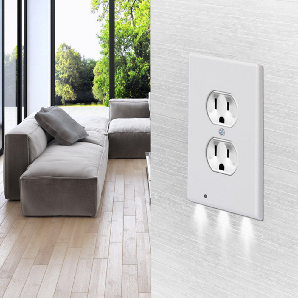 Wall Plate Outlet Cover With 3 LEDs Lights Duplex With Ambient Light Sensor Night Light For Bedroom Bathroom Kitchen Decoration