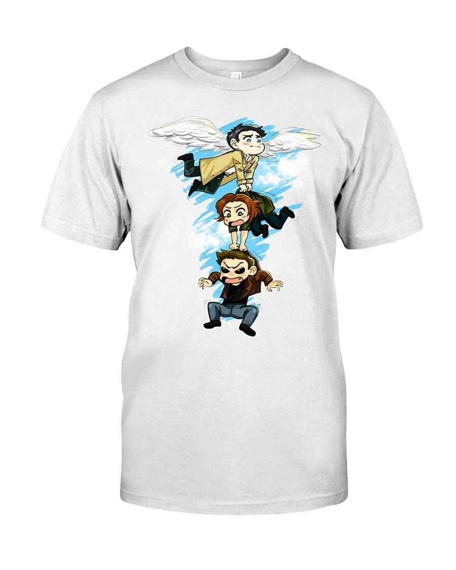 Supernatural Castiel The Angel Temparance Mystic Tarot Parody Black T-shirt Dean