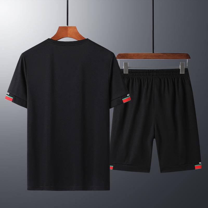 5XL Fashion Shorts Set Men 2020 Summer 2pc Tracksuit Short SweatShirt + Shorts Sets Beach Mens Casual Tee Shirts Set Sportswe