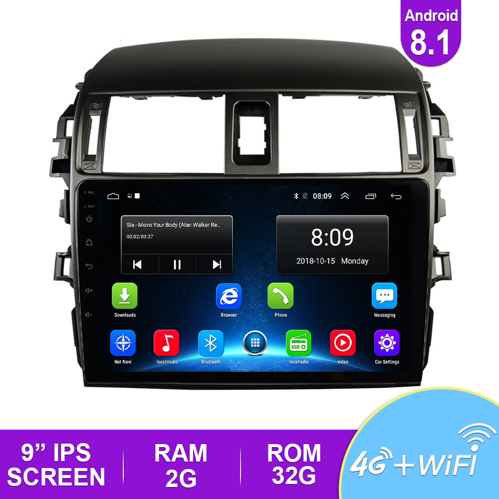 Android 8.1 Car Radio Multimedia Player For <font><b>Toyota</b></font> <font><b>Corolla</b></font> <font><b>E140/150</b></font> 2008 2009 2010 2011 2012 2013 Stereo GPS Navigation 2 Din image