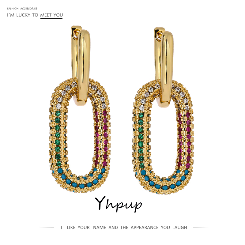 Yhpup New Exquisite Shiny Cubic Zirconia Geometric Hoop Earrings Fashion Gold Plated Copper Earrings Jewelry Gift 2021