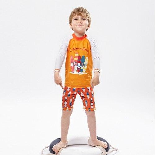 2018 New Style KID'S Swimwear BOY'S Split Type Hot Springs Swimwear Sun-resistant Quick-Dry Long Sleeve Beach Students Surfing S