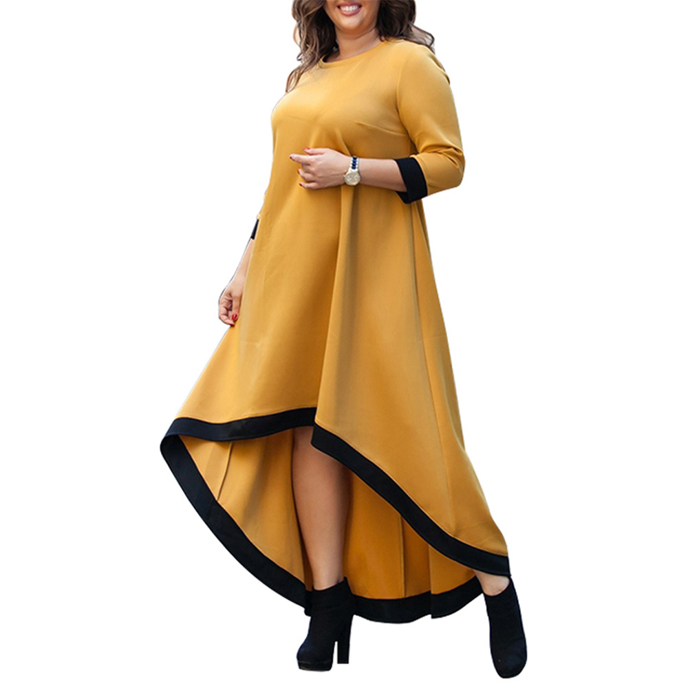 Ozhouzhan 2019 Spring New Style AliExpress Hot Selling Large Size Loose Casual Dress Long Sleeve