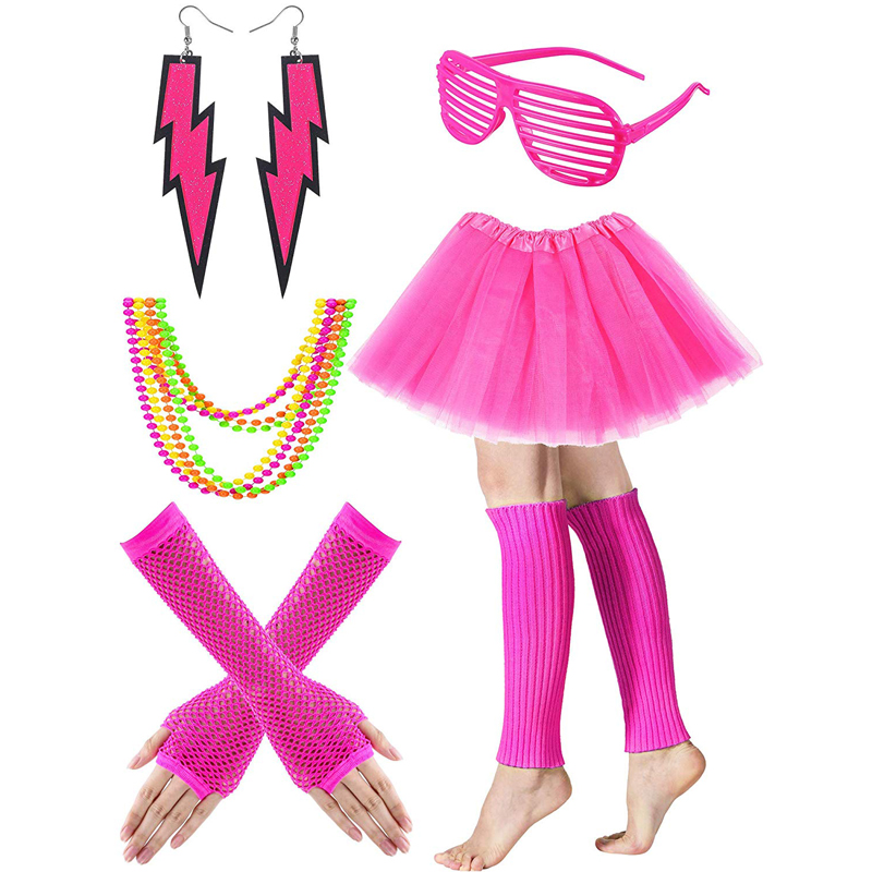 80s Costume Accessories Set Fishnet Neon Off Shoulder T-Shirt Tank Gloves Earrings for 80 s Party