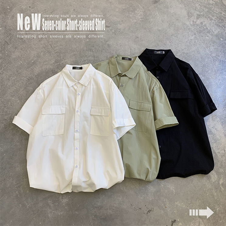 2020 Summer Thin Korean Version Of The Tooling Style Solid Color Trend Half-sleeved Student Loose Middle-sleeved Shirt