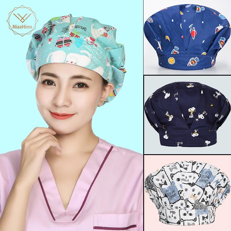 Doctor Surgical Scrub Cap Unisex Green Christmas Snowman Print Hospital Medical Caps Scrub Lab Clinic Dental Operation Nurse Hat