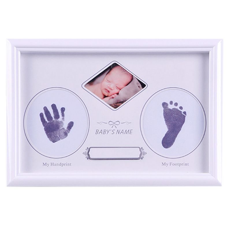 Baby Newborn Hand And Foot Prints Full Moon Hundred Days Infants Commemorative Frame Wooden Photo Frames Gifts