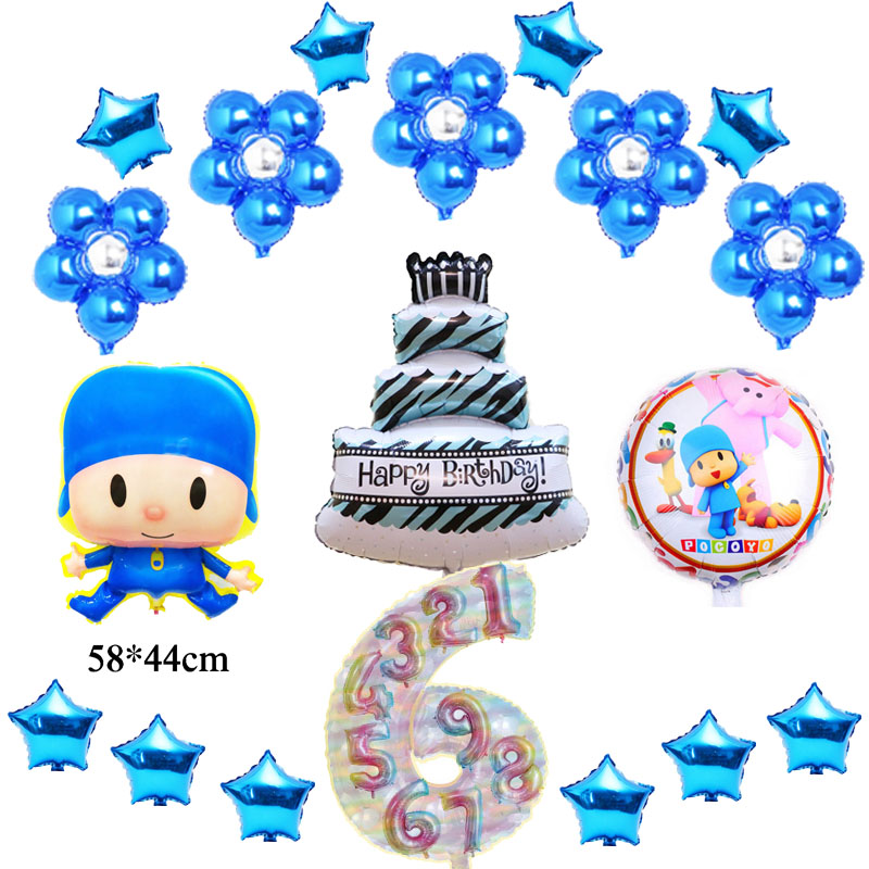 Awe Inspiring 19Pcs Lot Cartoon Pocoyo Birthday Balloons Pocoyo Party Balloons Funny Birthday Cards Online Elaedamsfinfo