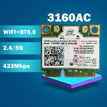Двухдиапазонная беспроводная Wi-Fi-AC3160 3160HMW AC 3160AC Half Mini PCI-e Wi-Fi 802,11 ac + Bluetooth 4,0 + 433 Мбит/с беспроводная Wi-Fi карта