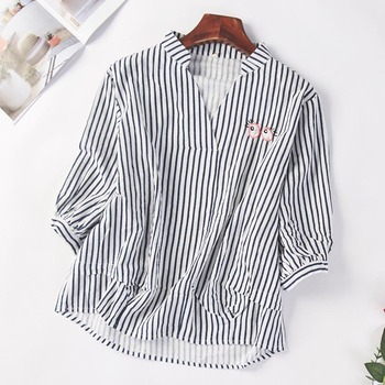Embroidery Blouse Women 2020 Shirt Top Summer Striped Long Sleeve Pullover Office Lady Stand Collar Casual Clothes Korean Style