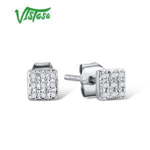 Image 3 - VISTOSO Gold Ohrringe Für Frauen 14 K 585 Rose Gold Funkelnden Diamant Dainty Runde Cirle Stud Ohrringe Mode Trendy Feine schmuck