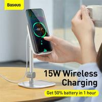 Baseus Telescopic Desktop Holder Stand with 15W Wireless Charger For Universal Mobile Phone Tablet Holder Adjustable Angle Stand