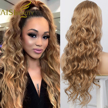 AISI BEAUTY Brown Long Body Wave Ponytail Extension Synthetic Drawstring Ponytail Clip in Hair Extensions for Women Black Blonde