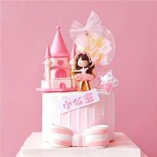 Kraliyet taç pembe kale prenses bebek kız mutlu doğum günü pastası Topper çocuk parti malzemeleri kek dekorasyon pembe aşk hediyeler