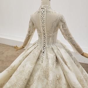 Image 5 - HTL1403 Hochzeit Kleid Ganze Mit Luxus Gold Applique Braut Kleid Langarm Hochzeit Kleid Spitze Up свадебное платье короткое