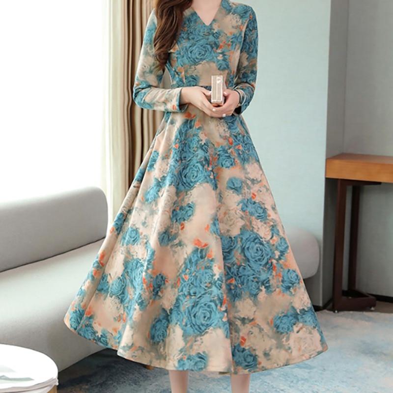 Vintage Dress Women V-neck Long Sleeve Big Swing Elegant Princess Print Slim Waist Boho Floral Vestidos