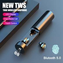 2021 nova v5.0 bluetooth sem fio fone de ouvido puxar para fora 8d fones estéreo esporte botões da orelha com cancelamento ruído fone com led energia