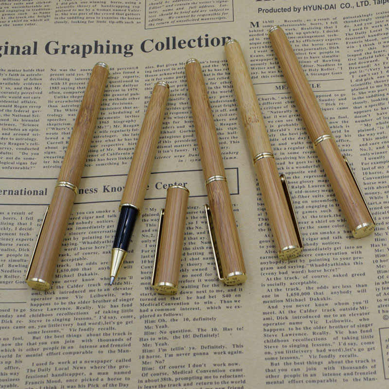 (12 Pieces/Lot) China Traditional Luxury Pen Wholesale Nature Handmade Bamboo Gel Pens Office Supplies