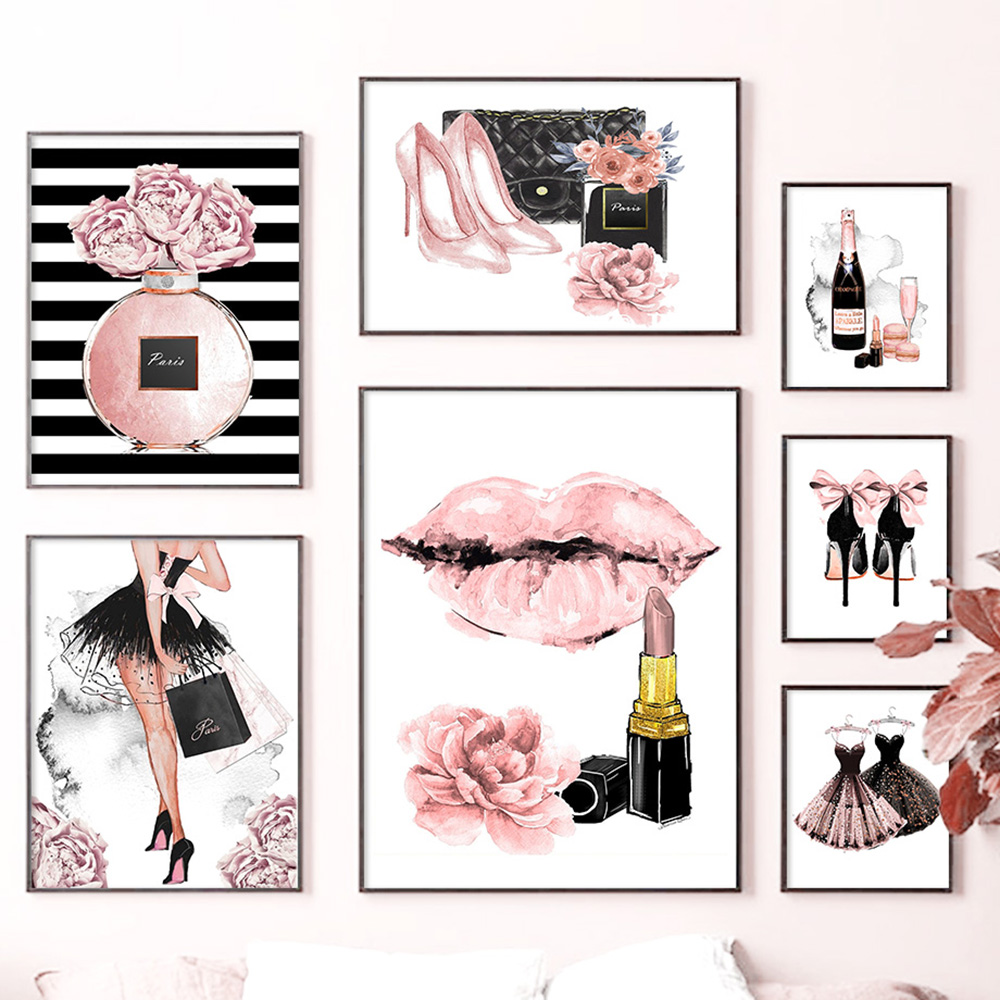Diamond painting girl perfume flower lipstick high heels wall art nordic poster rhinestone embroidery mosaic picture for fashion