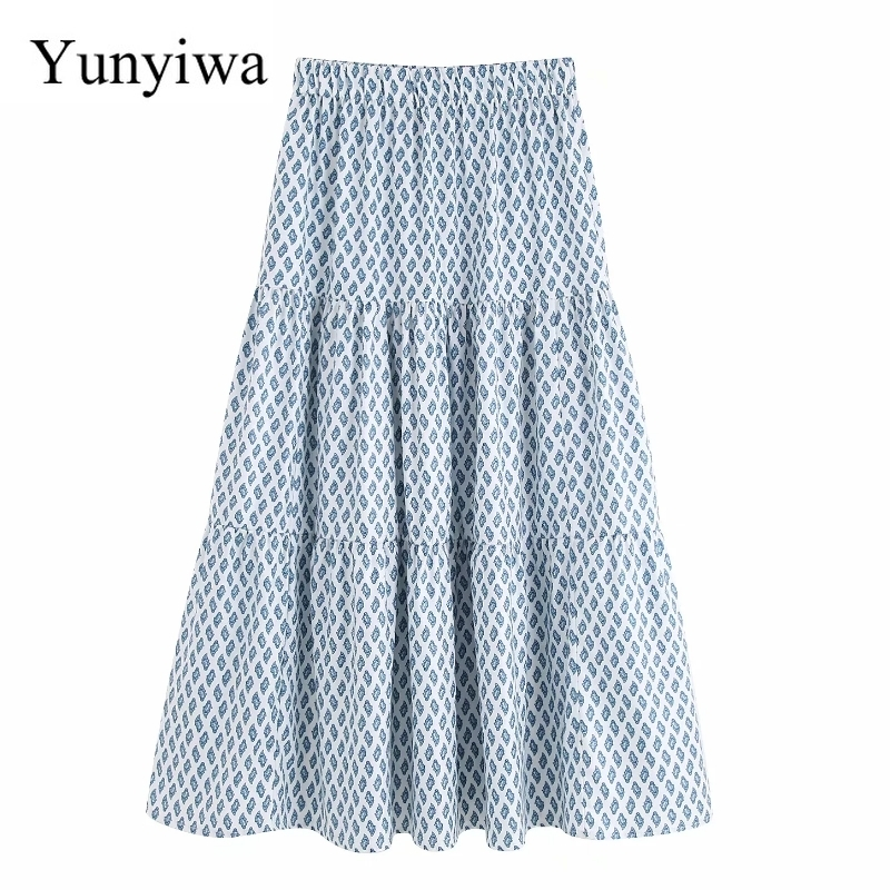New Women Beach Style Position Print Pleats Long Skirt Faldas Mujer Ladies Elastic Waist Casual Loose Chic Skirts