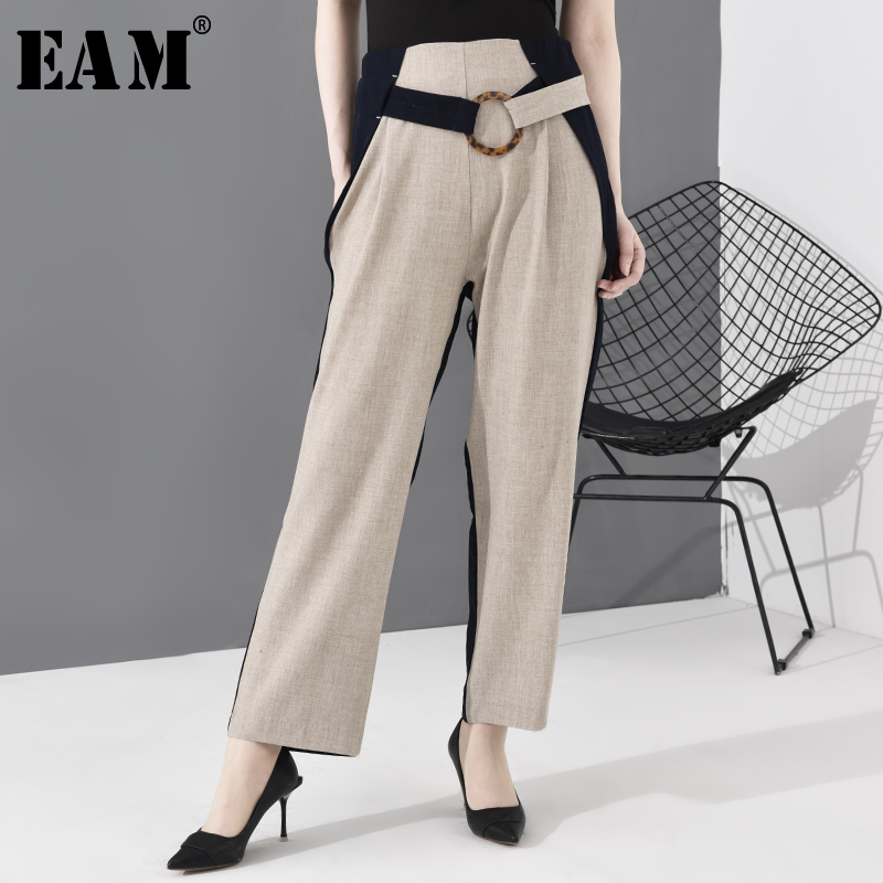 [EAM] High Waist Apricot Contrast Color Long Wide Leg Trousers New Loose Fit Pants Women Fashion Tide Spring Autumn 2020 JO374