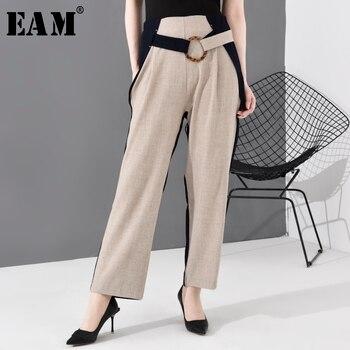 [EAM] High Waist Apricot Contrast Color Long Wide Leg Trousers New Loose Fit Pants Women Fashion Tide Spring Autumn 2020 JO374