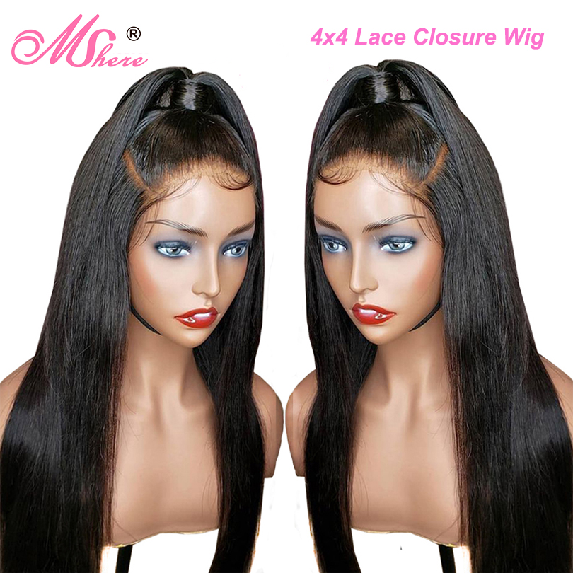 Mshere Closure Wig Human-Hair-Wigs Lace-Front Straight 4x4 Long with Baby Brazilian 150-%