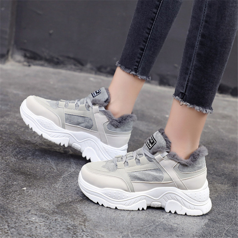 Women Sneakers Winter Plush Fur Shoes Woman Lace Up Female Boots Comrfortable Women Walking Platform Tennis Sport Running Shoes