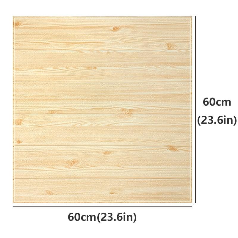 Image 2 - 3D en bois autocollant mural salon décor à la maison PE mousse  imperméable revêtement mural papier peint pour fond TV chambre denfants  60*60cmStickers muraux